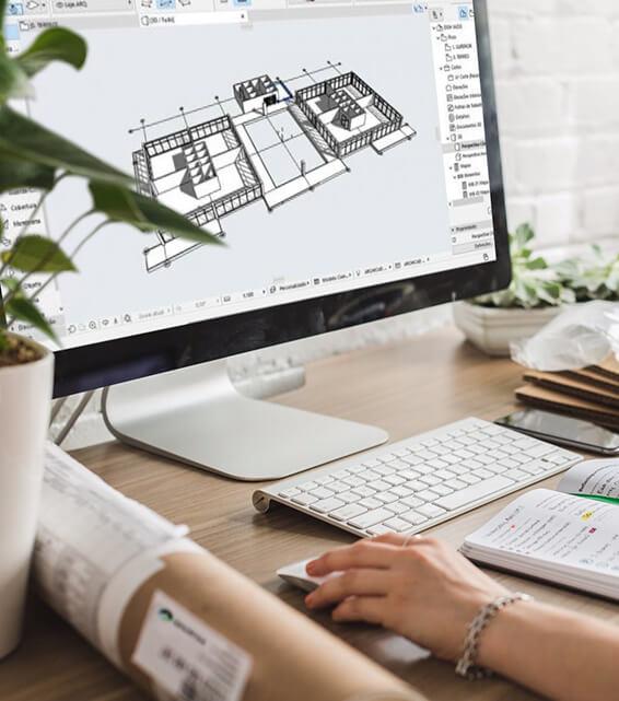 Dataskjerm med CAD tegning